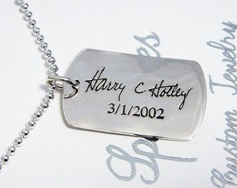 Man's Handwriting Necklace Large Dog Tag Signature Jewelry in Sterling Silver