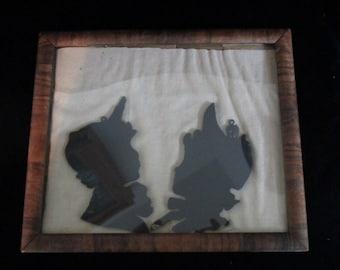 Wall Hanging -Silhouette Girl & Boy-Framed ~Silhouette tiles- Head Bust  Antique ~ Folk Art -