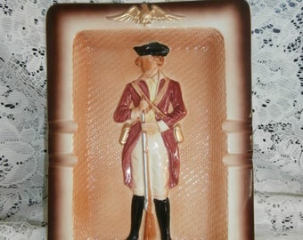 Original Arnart Creations Military 2nd Connecticut Light Horse 1777  Wall Plaque or Ashtray 3-D Art Stamped & Stickered