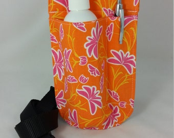 Massage Therapy Single lotion bottle LEFT hip holster, Tangerine Dream, black belt/buckle