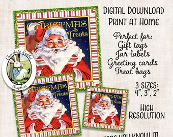 Christmas Santa Candy Treat Label Digital Download Printable Gift Tag Graphic Image Vintage Style Scrapbook Art Collage Sheet