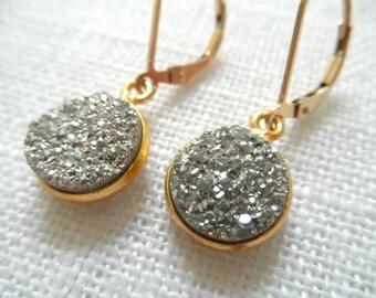 Silver titanium druzy earrings - gold earrings - silver earrings - silver druzy - D R U Z Y