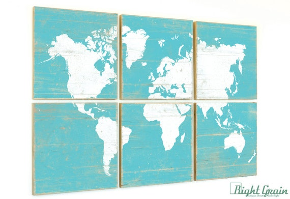Distressed World Map Wall Art Print - Rustic Home Decor - Vintage Map Artwork - Custom Made