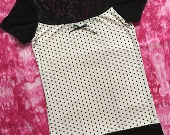 Pink Polka Dot Women's T-Shirt // Size Small // Girly Pastel Goth Victorian Alternative Lace