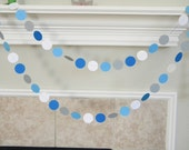 Paper Circle Garland in White, Blues, Gray - Little Blue Truck Birthday Party - Boy First Birthday - Blue Truck Nursery Decor