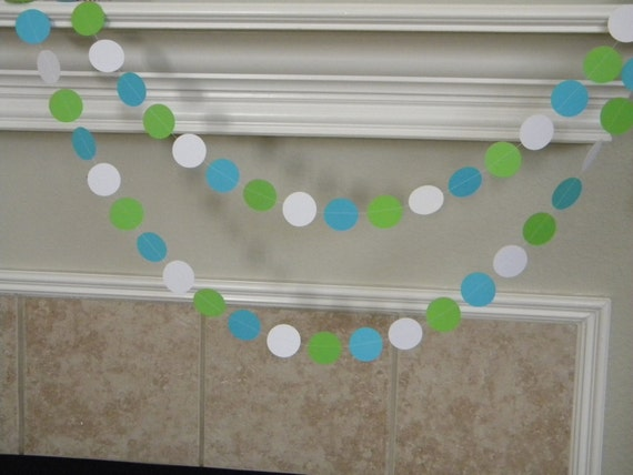 Lime green turquoise and white paper garland nautical for - Turquoise and lime green decor ...