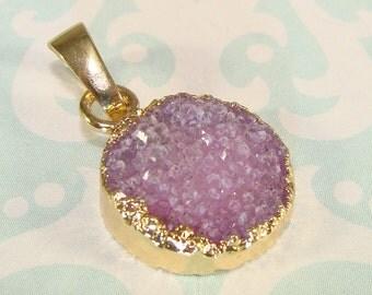 1 Purple Druzy Charm Round Pendant 15mm Agate Lavender Quartz 24K Gold Edge & Bail Necklace Pendant Natural Stone Jewelry Supplies 5PR1
