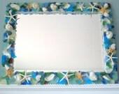 Beach Decor Custom Sea Glass & Shell Mirror - Nautical Decor Seashell Mirror w Beach Glass, Starfish - Any Color