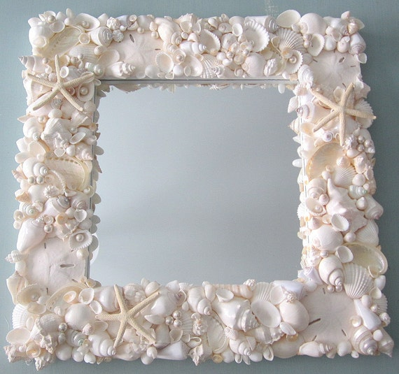 Seashell Mirror, Beach Decor Shell Mirror, Nautical Decor White Shell Wall Mirror, Coastal Home Decor, Beach House Decor, #WSM18