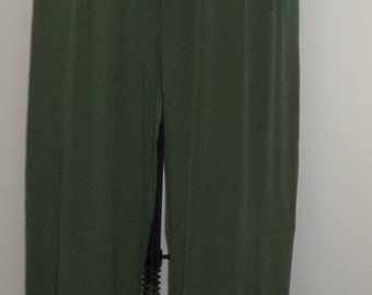 Plus Size Pants, Lagenlook, Coco and Juan, Olive Green Plus Size Pants, Traveler Knit Wide Leg Pant, Plus Size 2 fits 3X,4X