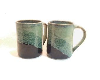 Set of 2 - 16 oz. Handmade ceramic mugs , Black / Slate gray combination