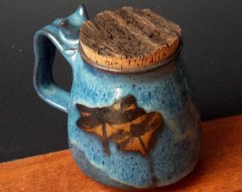 Stoneware Mug With Natural Bark Cork ~ Dragonfly Design ~