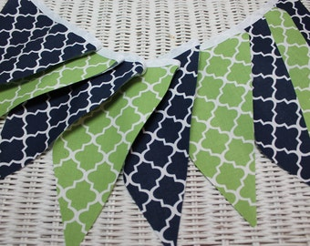 Free USA Shipping/Navy Blue and Chartreuse Green Fabric Banner/Navy and Green Banner/Chartreuse Green Fabric Banner/Navy Fabric Banner/