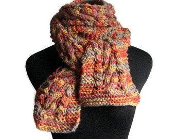 Hand Knit Scarf, The Stef Scarf, Cable Lace Scarf, Women Accessories, Orange Taupe Scarf, Winter Accessories, Mens Scarf
