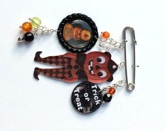 Pumpkin Man Halloween Brooch Pin Pumpkins Trick Or Treat Mixed Media Jewelry Vintage Whimsical Jewelry OOAK