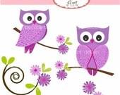 ON SALE instant download owl clip art , Purple Owls