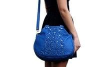 blue leather handbag floral Leather Bag, leather blossom bag, snorkle blue leather bag, boho leather bag, leather bag, spring leather bag