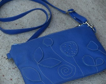 Womens Leather Bag, Blue leather messenger, Womens leather bag, small purse, rustic crossbody bag, summer fashion, gift for her