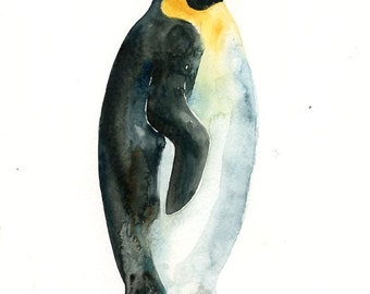 PENGUIN Original watercolor painting 8x10inch(Vertical orientation)
