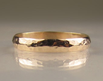 Women's Hammered Gold Wedding Band, 3mm recycled 10k Yellow Gold Ring, Ladies Hammered Gold Band, Made to Order