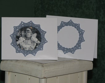 Set of 7 handmade Christmas cards with large blue snowflakes can have photo added & turns into a ornament for your tree * from heart of Ohio