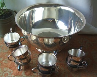 SALE ITEM Just Reduced By 30 %, Vintage Gorham Silverplate # YC782 Footed Punch Bowl & 12 Matching Cups # YC 790
