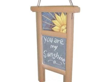 Hand Painted Mini Washboard Chalkboard | You Are My Sunshine Sun Design