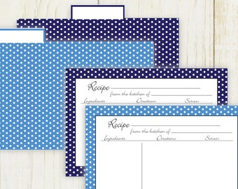 Dots Recipe Cards and Dividers 4x6 text fields - digital No 890