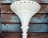 Vintage Shabby Chic Wall Pocket Hanging Display Baroque Ornate Hollywood regency French Provincial Chippy Distressed Column Flute Fluted