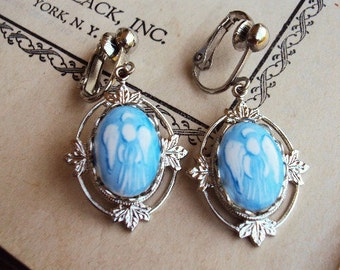 Vintage Angel Cameo Earrings Silver Leaf Filigree Crown Setting French Blue Stone Dangle Earrings Costume Jewelry Wings Halo