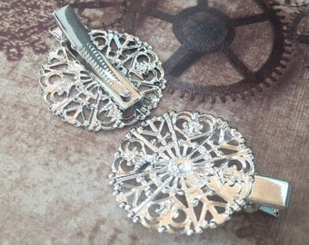 free UK postage Pack of 4 Silver Tone Hair Clip with Filigree