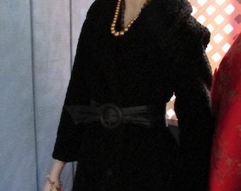 Fabulous Boho Midcentury VINTAGE Black Curly Lamb COAT Fitted Waist Leather Belt