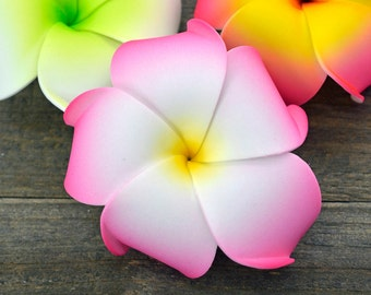 Plumeria Flower Hair Clip, Pink, 3 inch, Foam Flower,  Hawaiian Hair Flowers, Pink Hair Clips