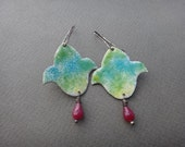 Bleeding Heart Flower Earrings with Faceted Ruby Bead