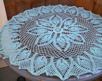 Vintage Home Linens Table Topper Aqua Round Crochet Doily