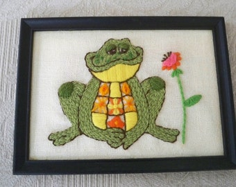 Vintage Home Decor Wall Hanging Hand Stitched Frog Framed