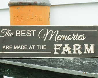 The Best Memories are Made at the Farm Lake Mountains Cabin - 8x24 Carved Handpainted Rustic Wooden Sign