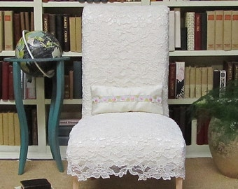 "Linen and Lace chair for 24"" dolls or perhaps younger?"