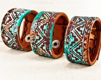 Turquoise Jewelry Leather Cuff Bracelet Bohemian Gypsy Chic Wristbands