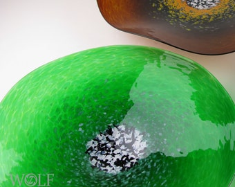MADE TO ORDER Blown Glass Wall Art Emerald Green Poppy Glass Wall Platter
