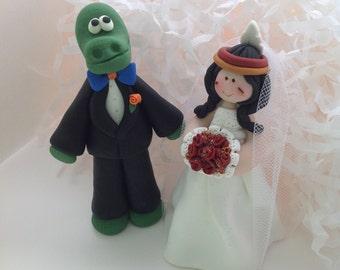 House Divided...Gator UF Groom and Nole FSU  Bride Wedding Cake Topper