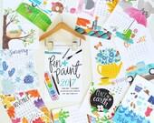 NEW 2017 5x7 Mini Calendar, Wooden Hanger Illustrated, Seasonal, Colorful, Planner, Wall Calendar, Desk Calendar, Illustration, Hand drawn