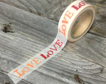 """Washi Tape - 15mm - Red and Orange """"LOVE"""" on White - Deco Paper Tape No. 934"""