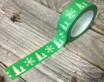 Washi Tape - 15mm - White Christmas Trees and Snowflakes on Green - Deco Paper Tape No. 868