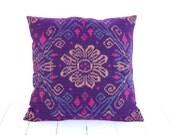 Ikat, Cotton, Hand Woven, 16 x 16, Zip Enclosure, Purple