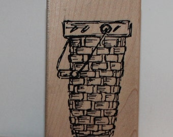 Tall Vintage Basket Rubber Stamp