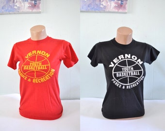 Vintage Tee Youth Basketball TShirt Super Soft Thin Vernon Ct Connecticut Red or Black Youth Large Ladies SMALL