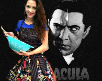 Handmade woman's apron in Dracula theme, old movies, classics, horror, Halloween, pin up, full, kitchen, sexy, Costume parties Bridal shower