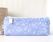 Periwinkle Blue Pencil Case Blue Pencil Pouch Polka Dot Pencil Case Purse Organizer