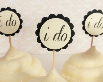 I Do Cupcake Toppers Engagement Bridal Shower and Wedding Cake Topper Black and Ivory Set of 25